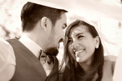 A felicidade e a cena romântica de pares do amor partners Fotos de Stock