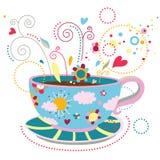 Felicidade em uma chávena de café Imagens de Stock