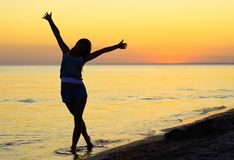 Felicidade na praia Fotografia de Stock