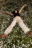 Felicidade nas flores Fotografia de Stock Royalty Free