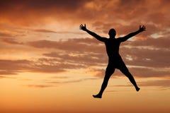 Felicidade no por do sol Fotografia de Stock