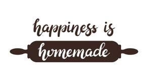A felicidade tirada mão é cartaz caseiro da rotulação da tipografia com o pino do rolo no fundo imagem de stock