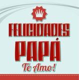 Felicidades far, te amo - lyckönskanfarsan, älskar jag dig spansk text stock illustrationer