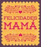 Felicidades Mama, Congrats Mother spanish text stock illustration