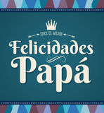 Felicidades Papa - Congratulation dad - spanish text. Vector card Stock Photos
