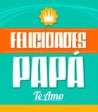 Felicidades Papa, Te Amo, Congratulation Dad, I Love You spanish text. Vector illustration - eps available stock illustration