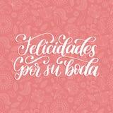Felicidades Por Su Boda translated from Spanish handwritten phrase Congratulations For Your Wedding on pink background. Vector illustration Royalty Free Stock Photos
