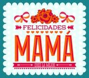Felicidadesmamma, Congrats-Moeder Spaanse tekst Stock Foto