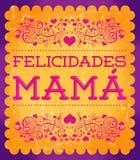 Felicidadesmamma, Congrats-Moeder Spaanse tekst Royalty-vrije Stock Afbeelding
