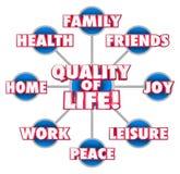 Felicità di godimento della casa di famiglia degli amici del diagramma di qualità della vita illustrazione di stock
