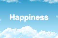 Felicità - parola della nuvola Fotografie Stock Libere da Diritti