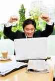 Felicità per successo nel job Immagini Stock Libere da Diritti