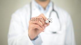Felicità, scrittura di medico sullo schermo trasparente Fotografie Stock Libere da Diritti