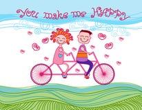 Felicità in tandem della carta della bicicletta di giro di amore delle coppie Immagine Stock