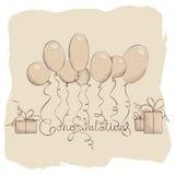 Felicitações com balões Foto de Stock Royalty Free