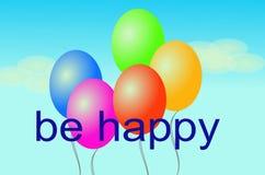 Felicitações com balões Imagens de Stock Royalty Free