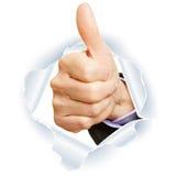 Felicitações com polegares acima imagens de stock
