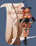 Felicitações da vassoura de bruxa da mulher dos desenhos animados a Dia das Bruxas feliz Foto de Stock