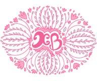 Felicitações de easter da rotulação no quadro floral Fotos de Stock Royalty Free