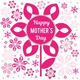 Felicitações em seu dia do ` s da mãe Em um fundo um teste padrão vegetativo Imagens de Stock Royalty Free