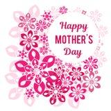 Felicitações em seu dia do ` s da mãe Em um fundo um teste padrão vegetativo Imagem de Stock