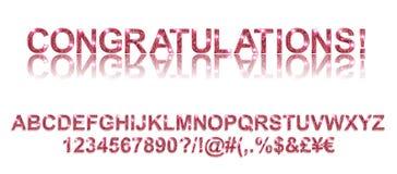 Felicitações Fontes alfabéticas vermelhas do ouro Fotos de Stock