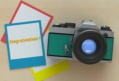 Felicitações, mensagem no quadro da foto Foto de Stock Royalty Free