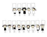 Felicitações das meninas de sorriso bonitas Imagens de Stock