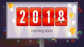 Felicitatieaffiche, die het nieuwe jaar van spoedig 2018 komen Aanplakbord bij de achtergrond van nachtstad Concept banner met royalty-vrije illustratie