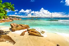 Felicite Island Seychelles. Felicite Island, Seychelles. Peaceful landscape of Seychelles beach near La Digue. Paradise for snorkeling, turquoise sea and typical stock photography