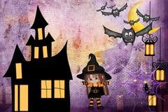 Felicite a los amigos en Halloween stock de ilustración