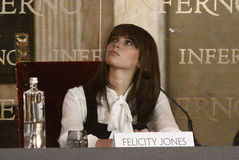 Felicity Jones. Protagonist  of the film Inferno, the presentation world premiere in Florence Royalty Free Stock Photos