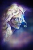 Felik ande för härlig ängel i strålar av purpurfärgat ljus, illustration royaltyfri illustrationer