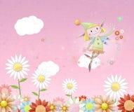 felik blommig fladdrande joyful äng över Arkivbild