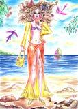 Felik flicka för sommar som äter glass på kusten av havet vektor illustrationer
