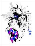 Felik flicka med den ursnygga frisyren, mangaanime för tatuering, tryck, t-skjortor och textiler också vektor för coreldrawillust Arkivbild