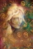Felik kvinnaframsida för saga på abstrakt bakgrund med prydnader stock illustrationer