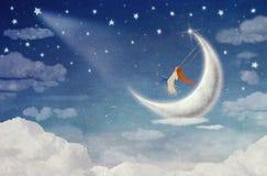 Felik ridning på en gunga på månen stock illustrationer