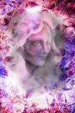 Felik stående för kvinna, illustrationcollage med prydnader vektor illustrationer
