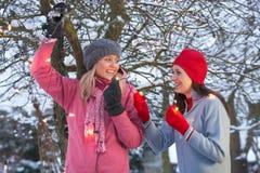 felika flickor som hänger lampor tonårs- två Fotografering för Bildbyråer