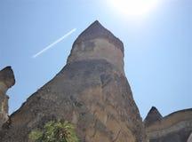 Felika lampglas i Cappadocia - geologiska stenar Royaltyfri Bild