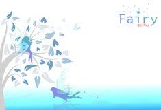 Felikt fantasi- och fjärilsflyg i blom- trädgård av himmel ab royaltyfri illustrationer
