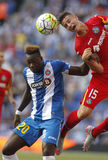 Felipe Caicedo of Espanyol fight with Carlos Vigaray Royalty Free Stock Image