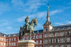 Felipe commemorativo III al sindaco Place di Madrid Fotografia Stock Libera da Diritti