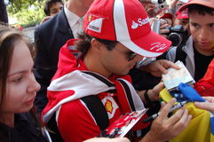 Felipe Massa. F1 Driver Felipe Massa  is among his fans and giving autographs on July 29, 2011 in Budapest, Hungary Stock Photo