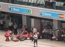 Felipe Massa exiting pit garage - Ferrari stock photo