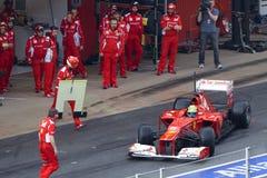 Felipe Massa stop pit line - Test Barcelona Royalty Free Stock Photos