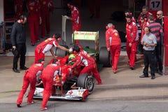 Felipe Massa terug naar Doos - de Dagen Barcelona van de Test Royalty-vrije Stock Foto
