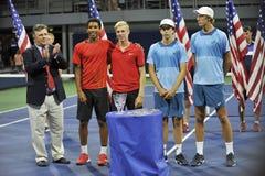 Felix Anger Aliassime Denis Shapovalov Brandon Holt Riley Smith. Are the finalists US Open 2015 Doubles Stock Photo