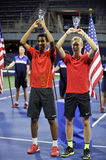 Felix Anger Aliassime Denis Shapovalov USOPEN champions. Felix Anger Aliassime Denis Shapovalov are the champions of US Open 2015 Doubles Stock Image